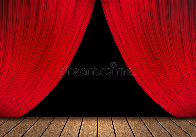 Opening red curtain and wood stage background. Opening red curtain and wood stage background royalty free stock photos