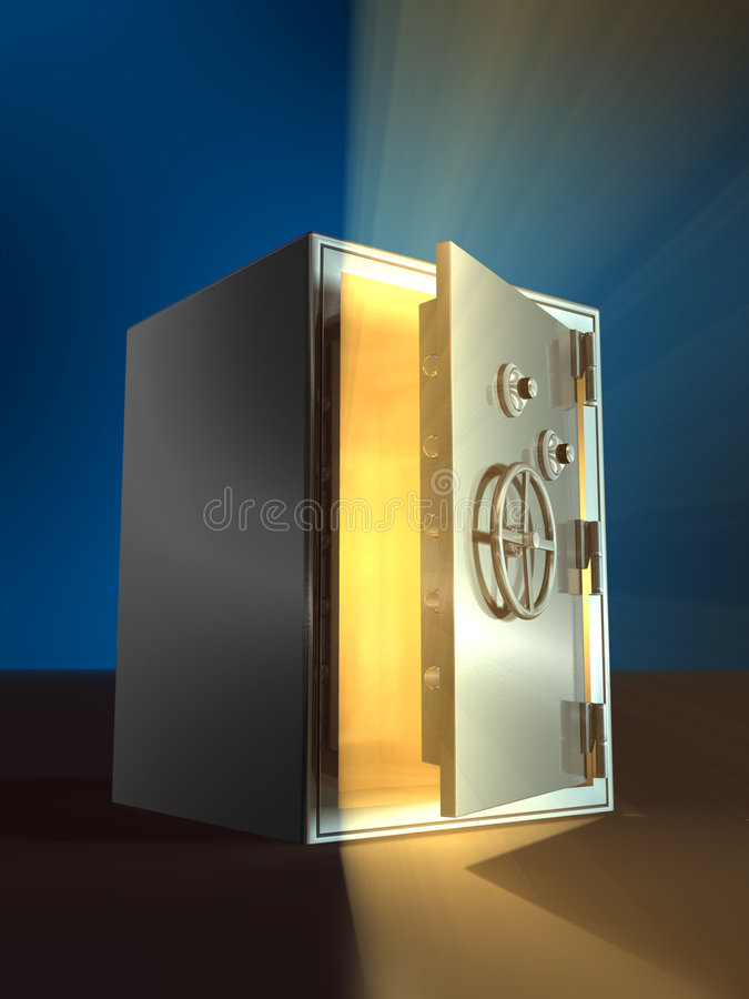 Opening safe. Warm light coming from inside an open safe. Digital illustration