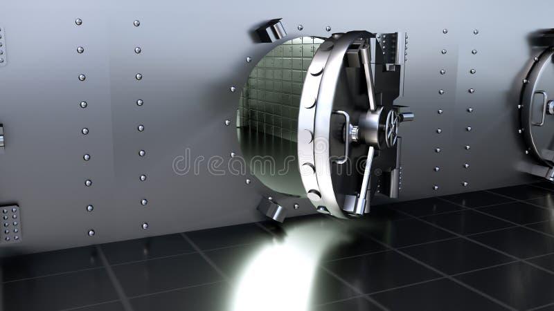 Opening Safe Door Of Bank Vault. 3D rendering. Opening Safe Door Of Bank Vault stock photography