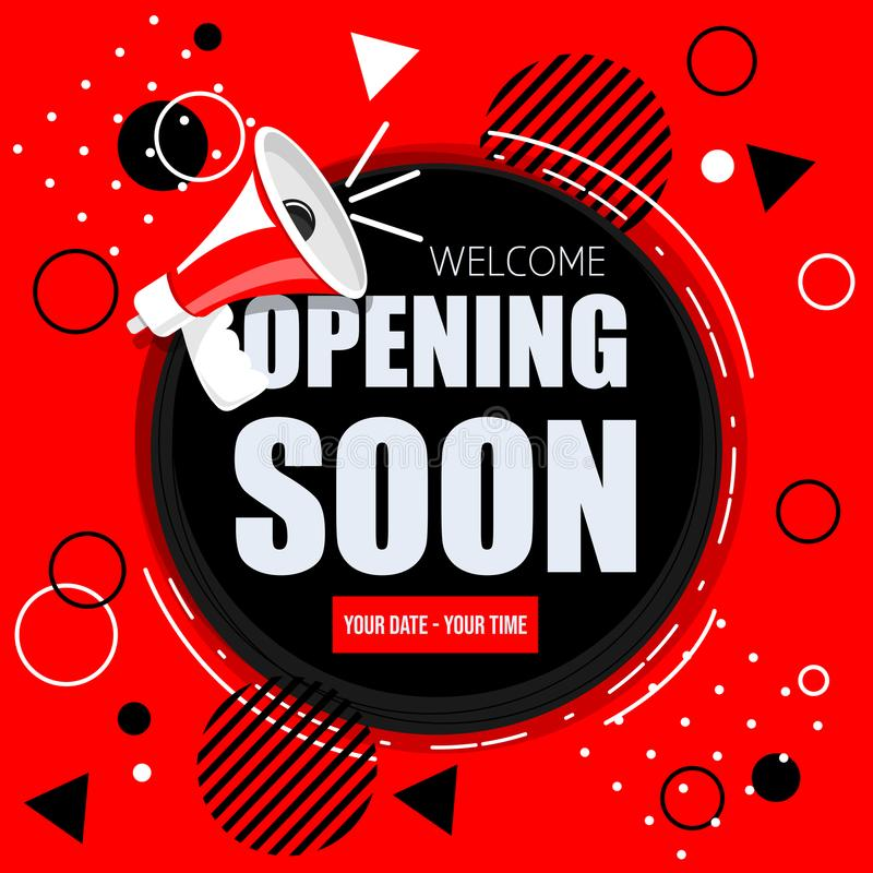 Opening soon banner. Opening soon vector red banner ith speaker. Sapes background. Modern design royalty free illustration