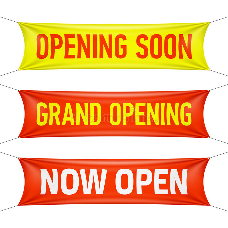 opening soon grand opening and now open banners stock vector rh dreamstime com