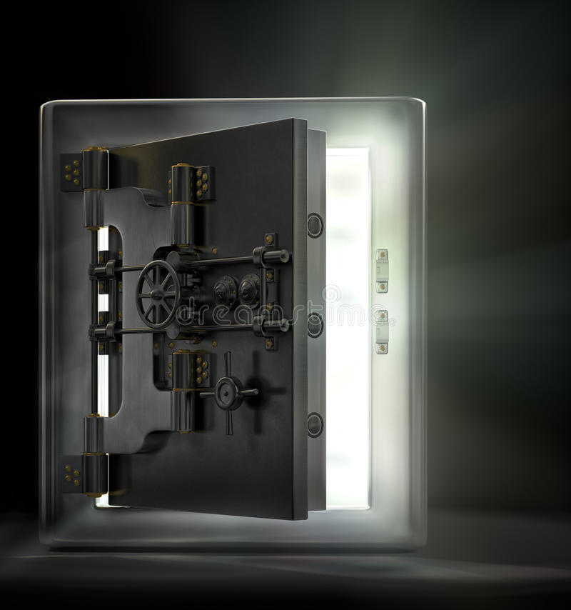 Opening the vault. A stainless steel safe vault with beams of light pouring out in a dark room