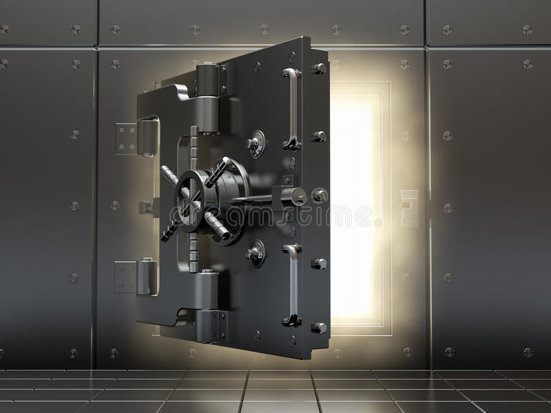 Opening vault and volume light. 3d. stock illustration