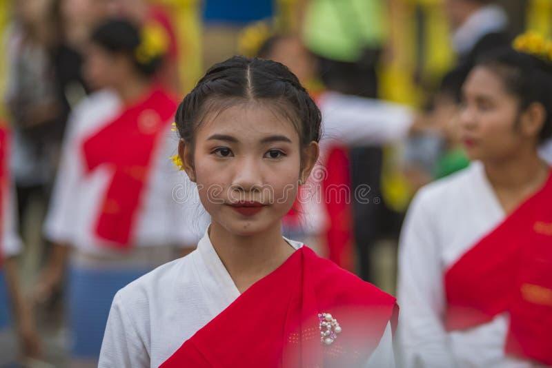 Openingsceremonie Loy Krathong en Yee Peng Festival in Chiang Ma royalty-vrije stock foto