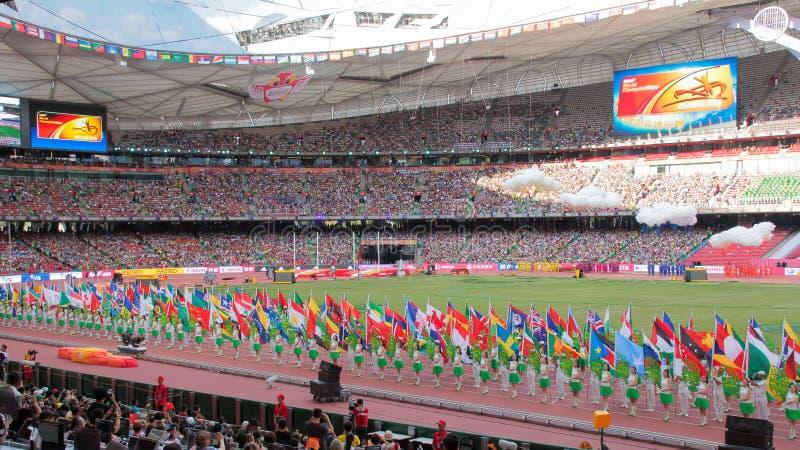 Openingsceremonie van IAAF-Wereldkampioenschappen in Vogelsnest, Peking, China royalty-vrije stock foto