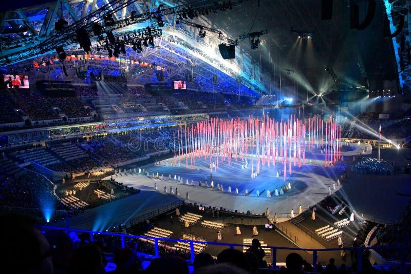 Openingsceremonie van Paraolympic-de winterspelen in Sotchi stock fotografie