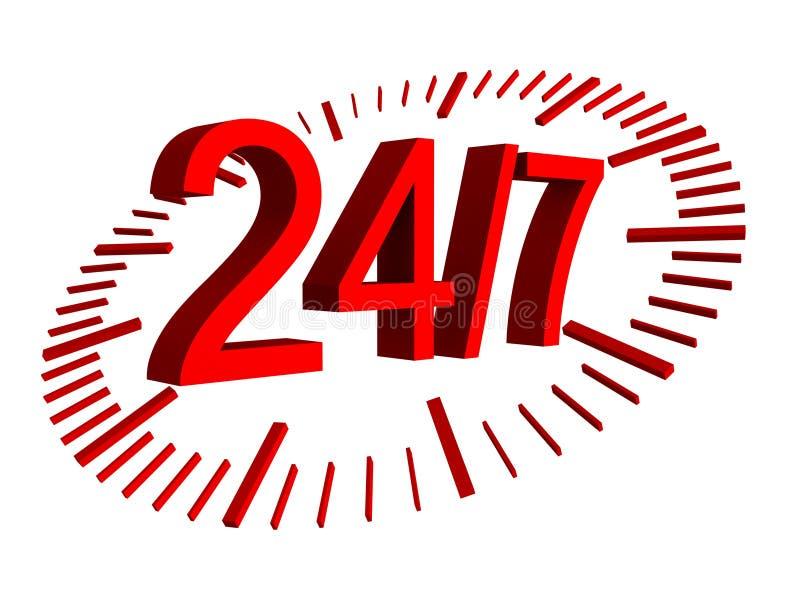Openingstijdenteken - 24 uren 7 dag stock illustratie