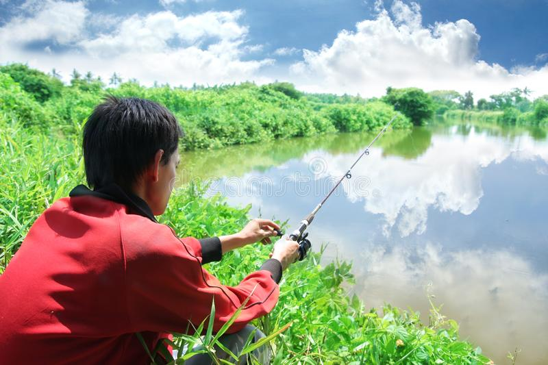 Activiteit van de visserij de openluchthobby