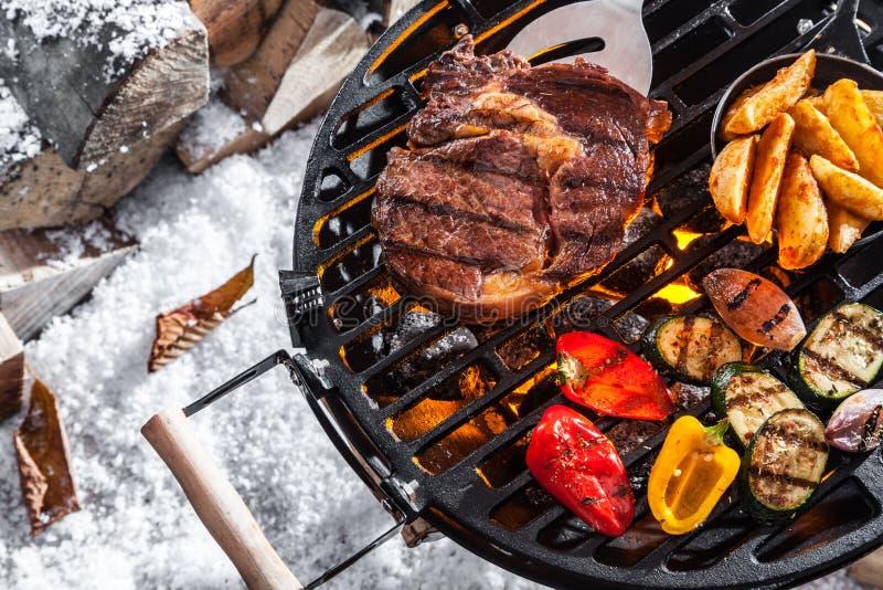 In openlucht de winterbarbecue royalty-vrije stock afbeelding