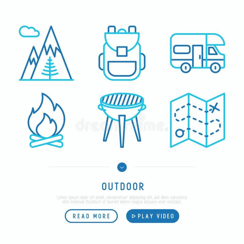 Openlucht dunne geplaatste lijnpictogrammen: bergen, rugzak, kampeerauto, brand, royalty-vrije illustratie