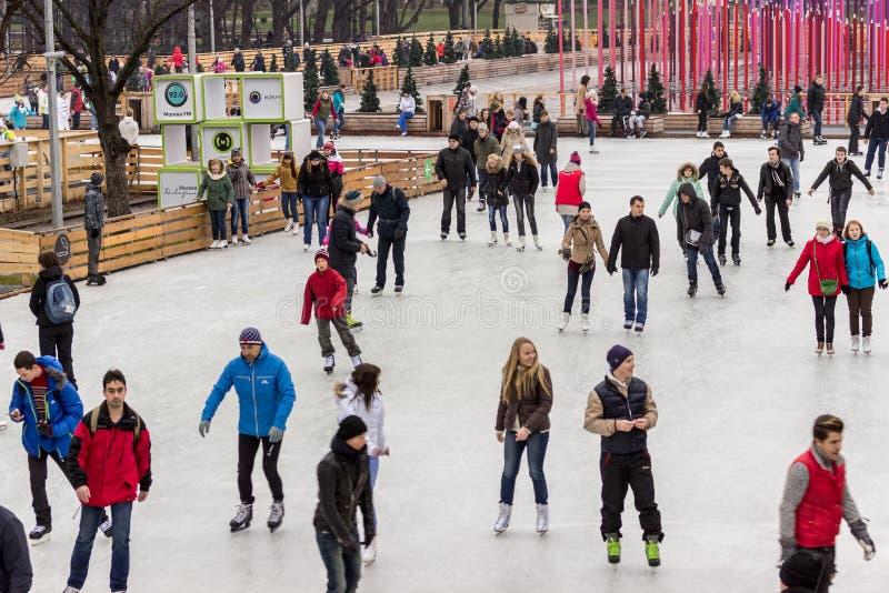 Openlucht het schaatsen piste bij het Park van Gorky (Moskou) stock foto's