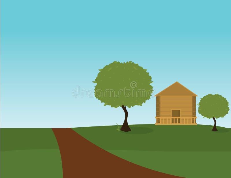 Openlucht huisscène royalty-vrije illustratie