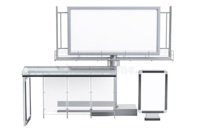 Openlucht leeg reclameaanplakbord, lege lichte doos en bussto stock illustratie