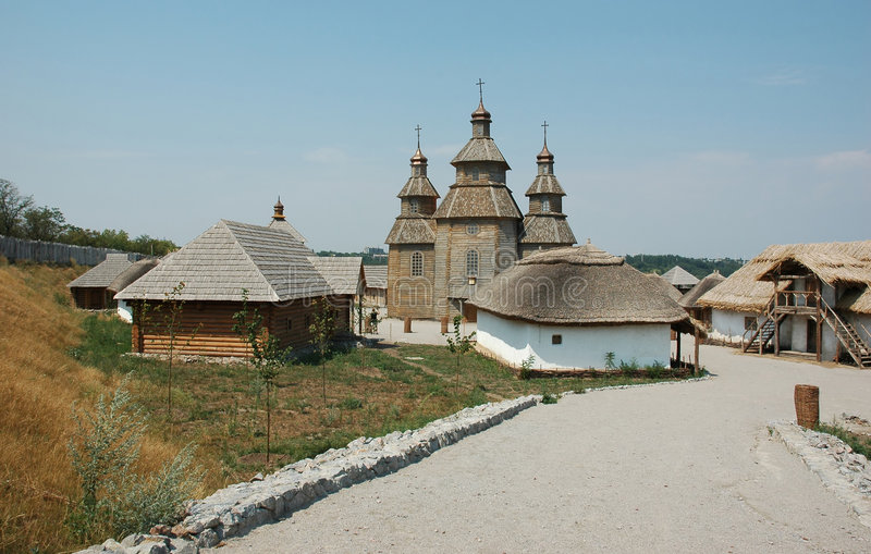 Openlucht museum van Oekraïens cossackdorp royalty-vrije stock afbeeldingen