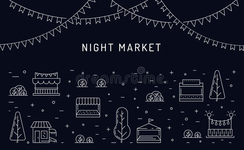 Openlucht openlucht van de nachtmarkt, de Zomer fest royalty-vrije illustratie