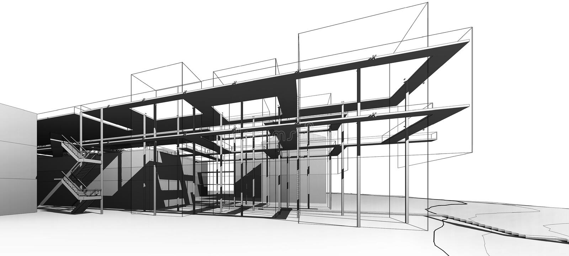 Openlucht van museum in nationale academie van fijne kunst en architectuur (conceptenproject) royalty-vrije illustratie