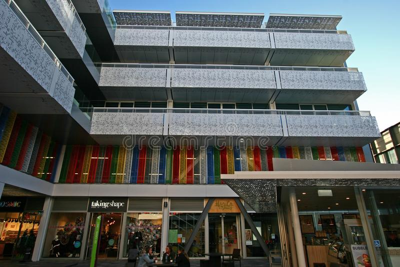 Openluchtbinnenplaats van BNZ-Centrumcentrum in Christchurch CBD, Canterbury, Zuideneiland, Nieuw Zeeland royalty-vrije stock afbeelding