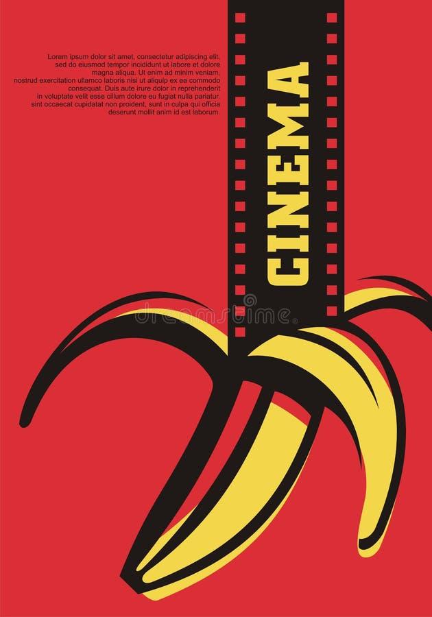 Openluchtbioskoop artistiek concept voor filmfestival met filmstrook en banaan vector illustratie