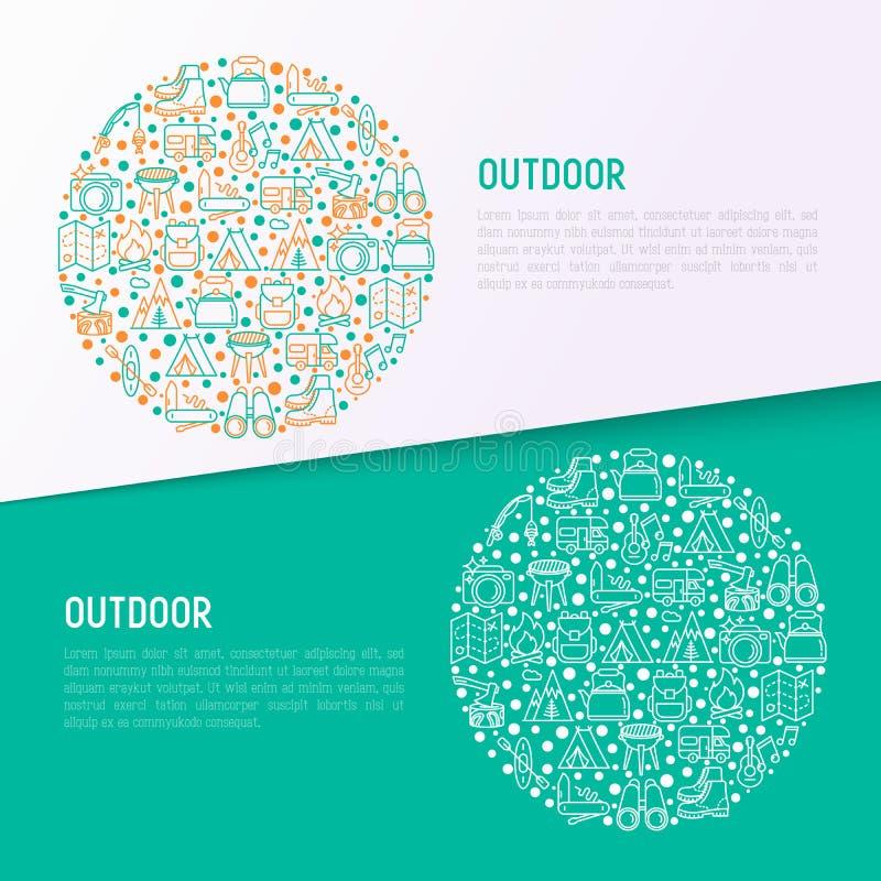 Openluchtconcept in cirkel met dunne lijnpictogrammen vector illustratie
