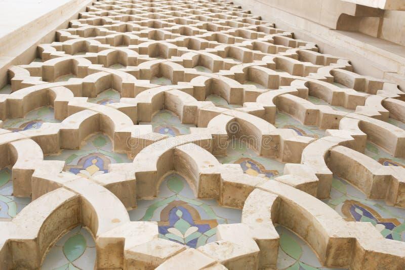 Openluchtdetail, Koning Hassan II Moskee, Casablanca, Marokko, Noord-Afrika, Afrika royalty-vrije stock foto's