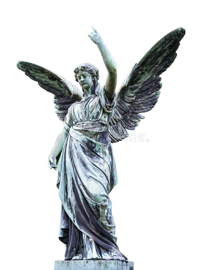 Openluchtengelenstandbeeld met haar uit uitgespreide vleugels royalty-vrije stock foto