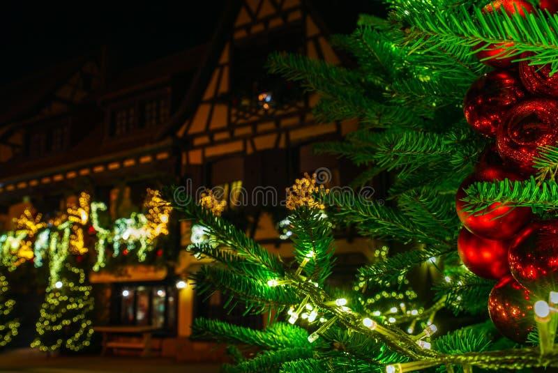 Openluchtkerstmisdecoratie in Straatsburg, Frankrijk stock fotografie