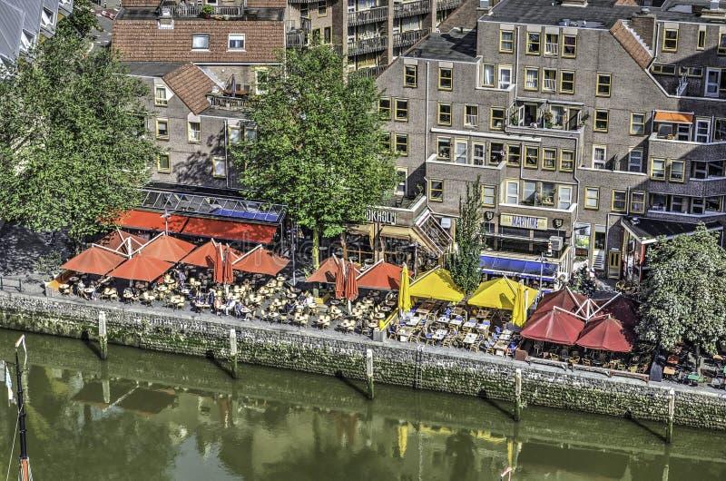 Openluchtkoffie bij de Oude Haven stock fotografie