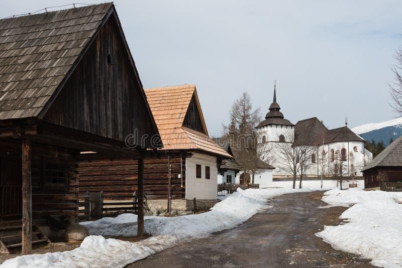 Openluchtmuseum van Liptov-Dorp in Pribylina, Slowakije royalty-vrije stock fotografie