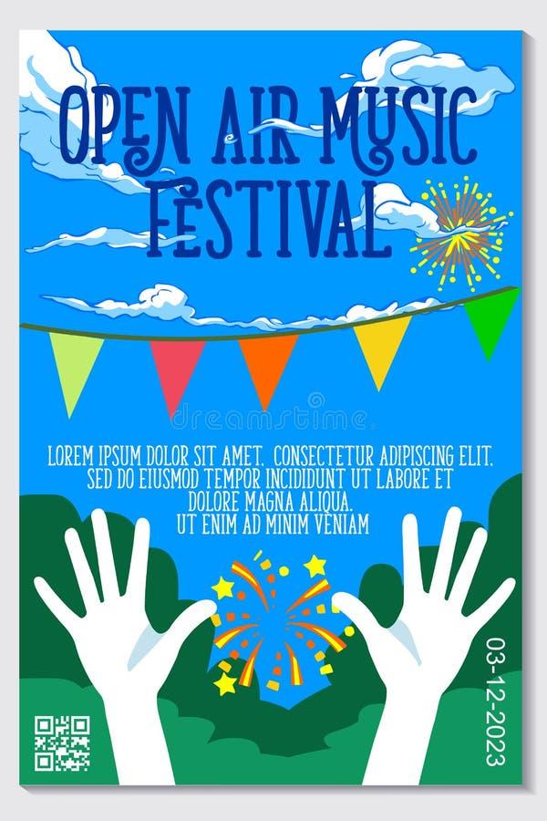 Openluchtmuziekfestival Live Event Vector Poster Design royalty-vrije illustratie