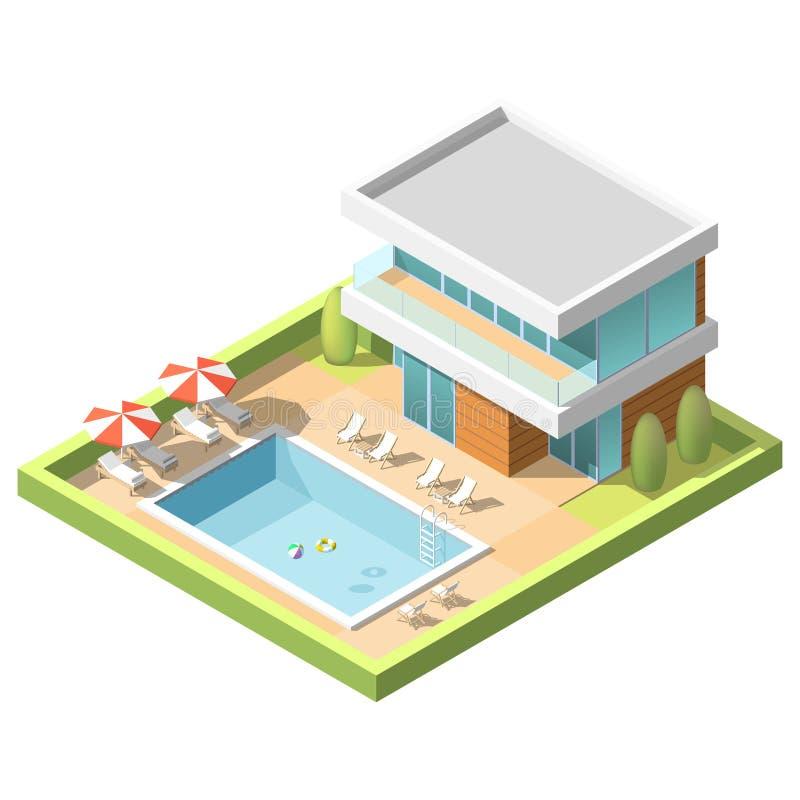 Openluchtpool voor het zwemmen dichtbij hotel isometrische vectorillustratie royalty-vrije illustratie