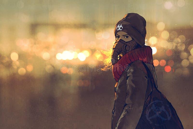 Openluchtportret van jonge vrouw met gasmasker in de winter met bokehlicht op achtergrond royalty-vrije illustratie