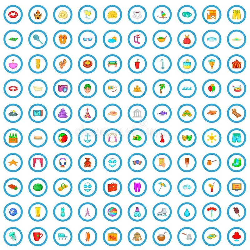 100 openluchtrust geplaatste pictogrammen, beeldverhaalstijl vector illustratie