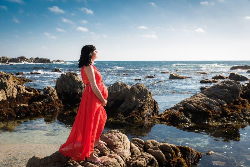 Openluchtschot van jonge zwangere vrouw in rode kleding stock foto's