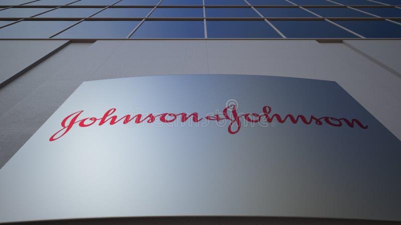 Openluchtsignage raad met het embleem van Johnson ` s De moderne bureaubouw Het redactie 3D teruggeven stock fotografie