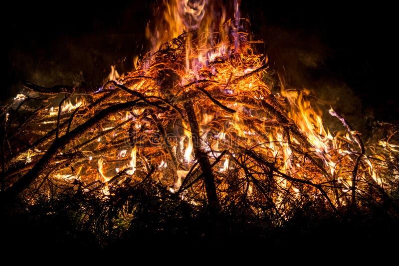 Openluchtvuur Het kamperen in de aard in openlucht in het hout en stock afbeelding
