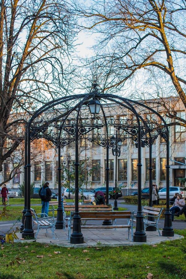 Openwork газебо в парке стоковые изображения