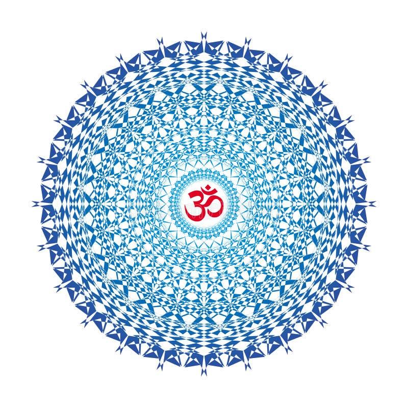 Openwork мандала в голубых цветах Aum/ом/Om подписывают внутри центр Духовный и обрядовый символ иллюстрация штока