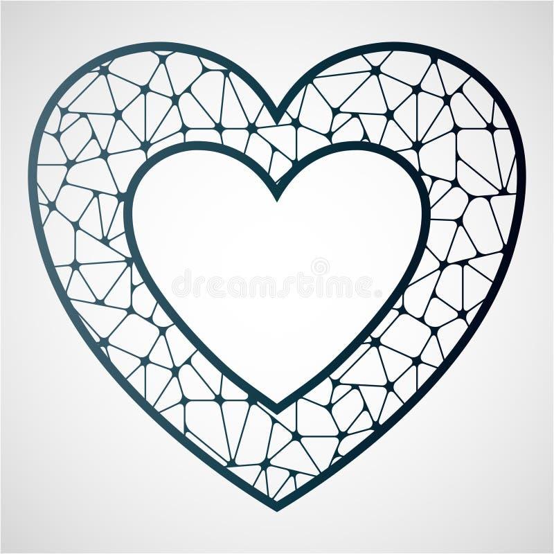 Openwork сердце Шаблон вырезывания лазера иллюстрация вектора