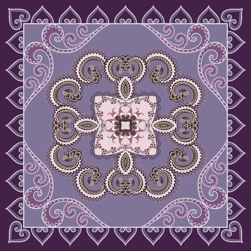 Free Openwork Bandanna With A Paisley Pattern In Lilac Purple Tones Royalty Free Stock Photography - 59199517
