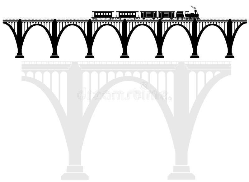 Openwork Bogenbetonbrücke mit einer Dampflokomotive Verkehrsinfrastruktur Transport von Passagieren lizenzfreie stockfotos