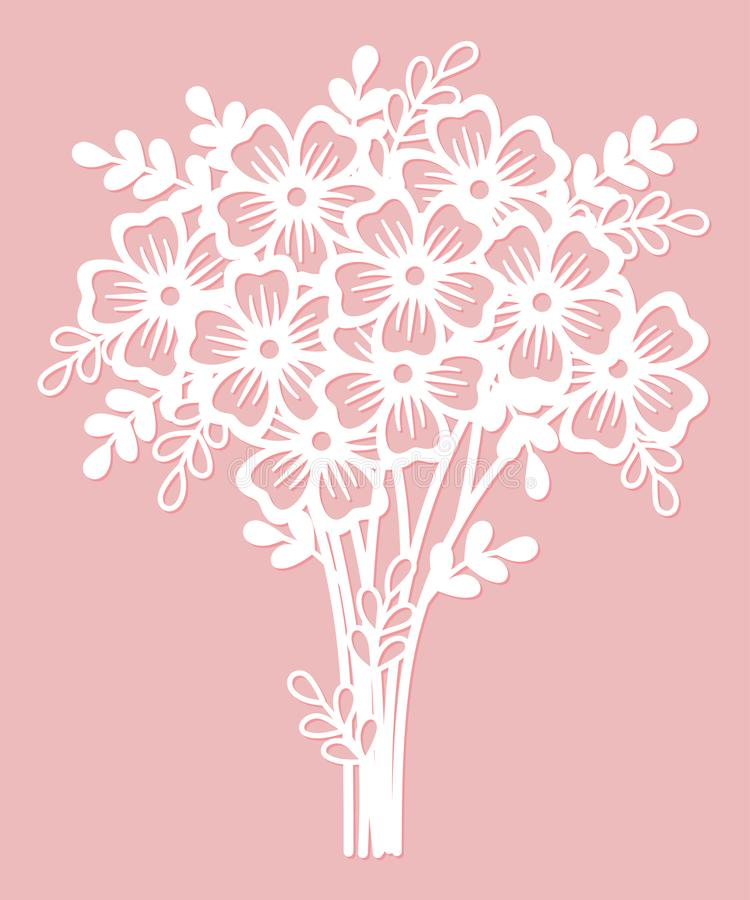 Openwork bouquet of flowers. Laser cutting template. vector illustration