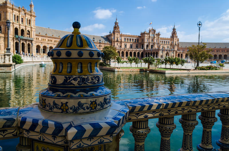 An openwork ceramic fence of the Plaza of Spain, Plaza de Espa stock photography
