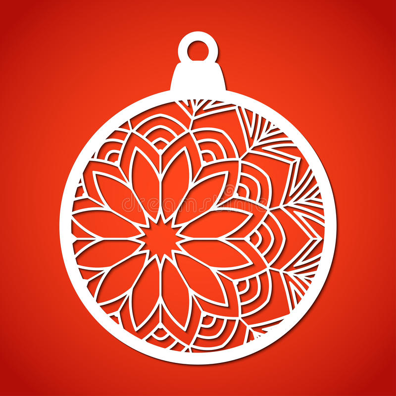 Openwork Christmas bauble. Laser Cutting template. royalty free illustration