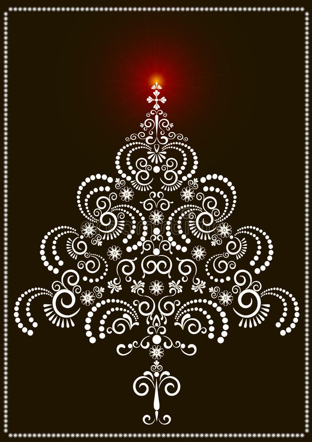 Openwork Christmas tree on a dark background.Card vector illustration