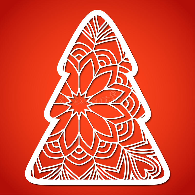 Openwork Christmas tree. Laser Cutting template. vector illustration