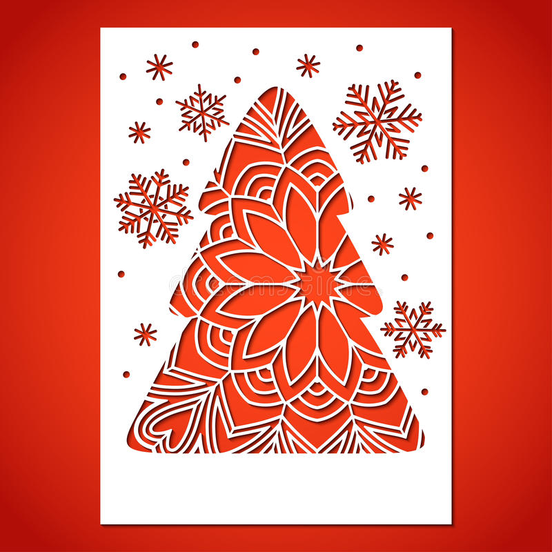 Openwork Christmas tree and snowflakes. vector illustration