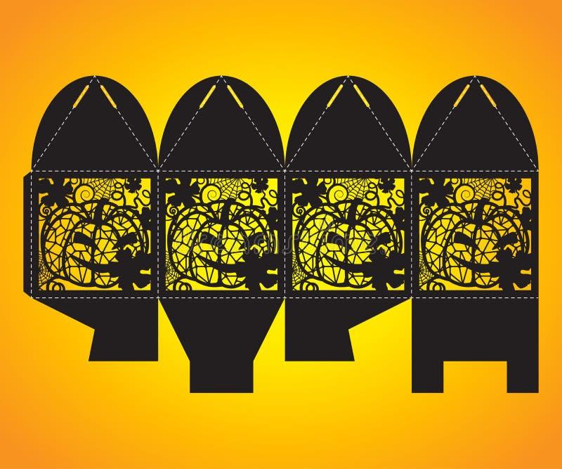 Openwork cube gift box. Halloween bonbonniere. vector illustration
