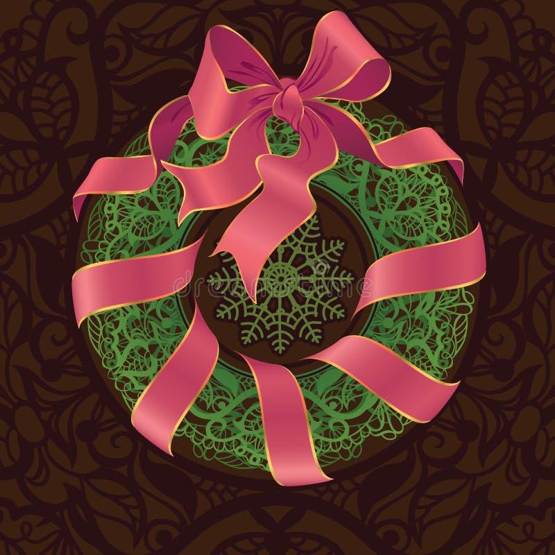 Openwork decoratie gestileerde kroon van Kerstmis royalty-vrije illustratie
