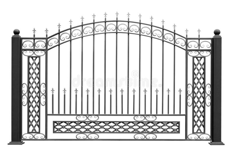 Openwork decorative fence with grids royalty free stock photo