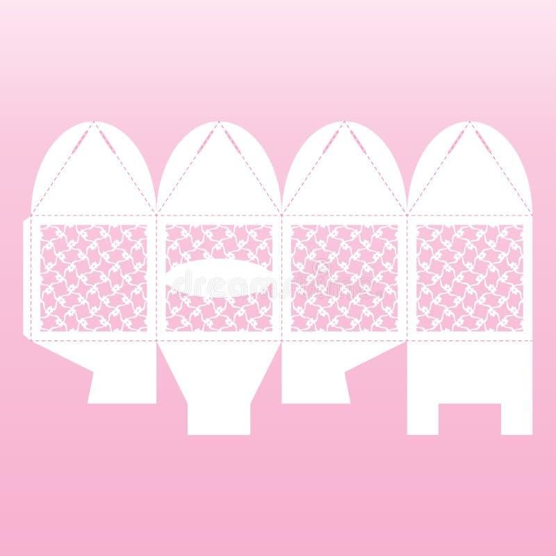 Openwork doos van de kubusgift Huwelijk Bonbonniere vector illustratie